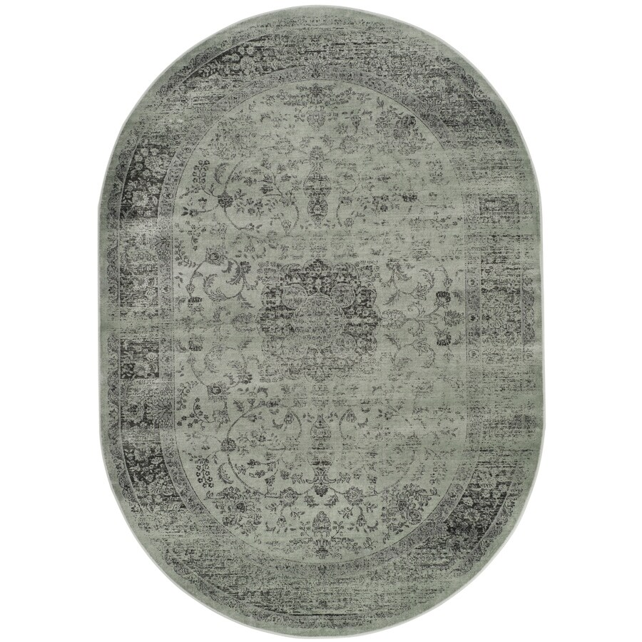 Safavieh Vintage Alhia Spruce/Ivory Oval Indoor Machine-made Distressed Area Rug (Common: 5 x 7; Actual: 5.25-ft W x 7.5-ft L)