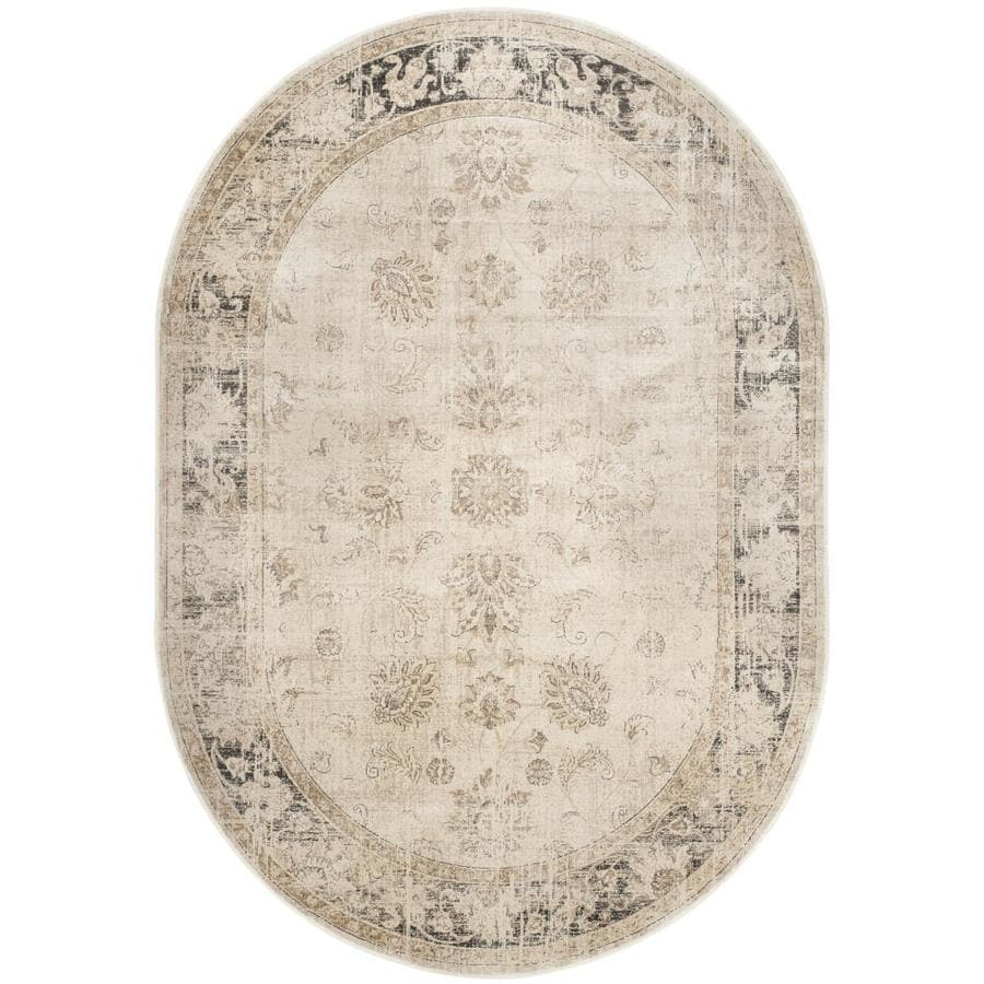 Safavieh Vintage Mosed Stone Oval Indoor Machine-made Distressed Area Rug (Common: 5 x 7; Actual: 5.25-ft W x 7.5-ft L)