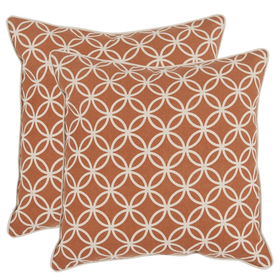 Safavieh Alice 2-Piece 18-in W x 18-in L Rust Indoor Decorative Pillow