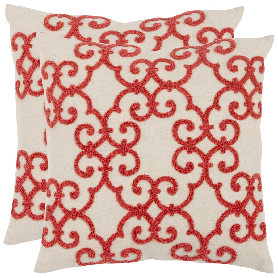 Safavieh Sonya 2-Piece 18-in W x 18-in L Pink/Red Square Indoor Decorative Pillow