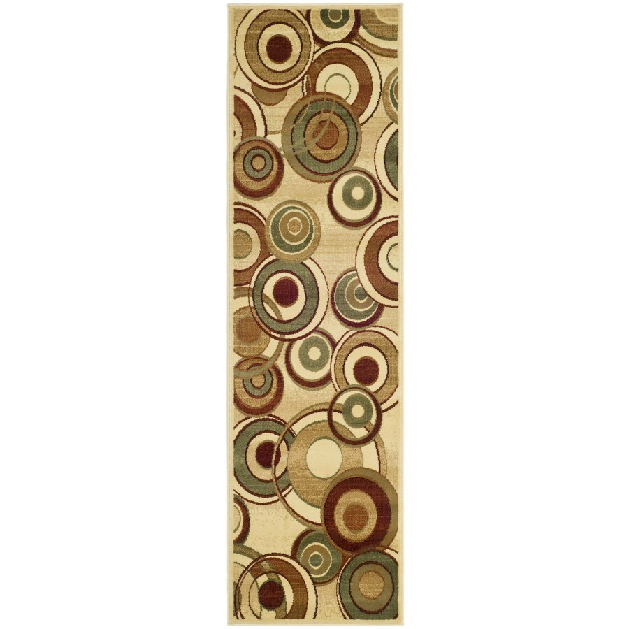Safavieh Lyndhurst Modern Circles Ivory/Multi Rectangular Indoor Machine-made Runner (Common: 2 x 12; Actual: 2.25-ft W x 12-ft L)