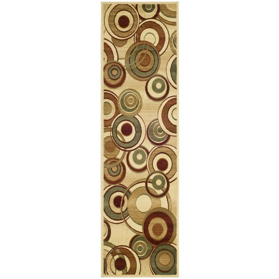 Safavieh Lyndhurst Modern Circles Ivory Rectangular Indoor  Runner (Common: 2 x 14; Actual: 2.25-ft W x 14-ft L)