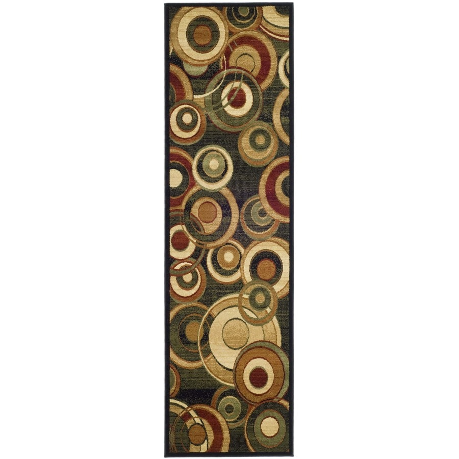Safavieh Lyndhurst Modern Circles Black Indoor Runner (Common: 2 x 14; Actual: 2.25-ft W x 14-ft L)