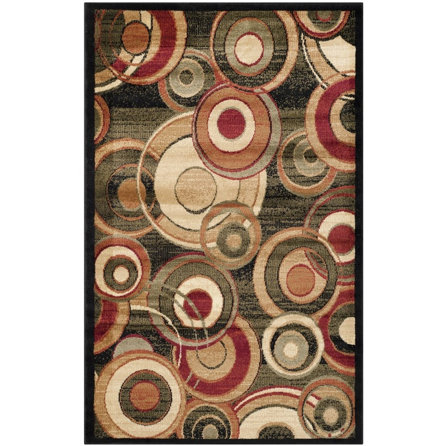 Safavieh Lyndhurst Modern Circles Black Indoor Runner (Common: 2 x 6; Actual: 2.25-ft W x 6-ft L)