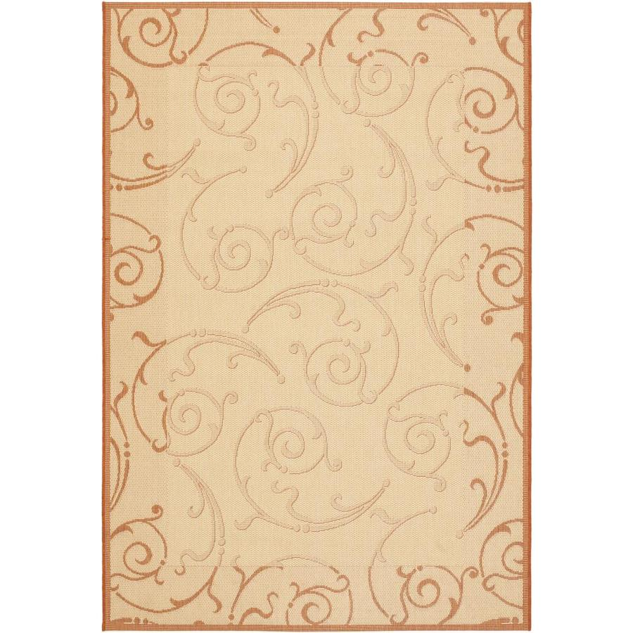 Safavieh Courtyard Natural/Terra Rectangular Indoor/Outdoor Machine-Made Coastal Area Rug (Common: 5 x 7; Actual: 5.25-ft W x 7.5833-ft L)