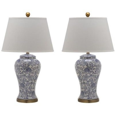Safavieh Spring 2 Piece Standard Lamp Set With Off White Shades At