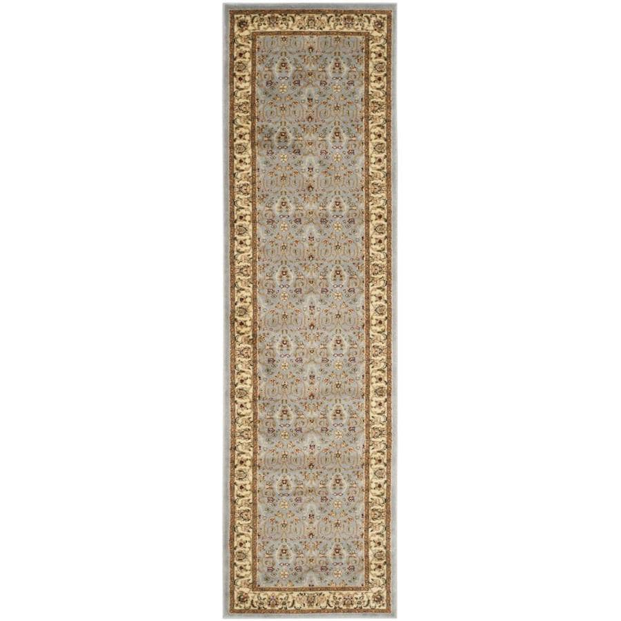 Safavieh Lyndhurst Qum Light Blue/Ivory Rectangular Indoor Machine-made Oriental Runner (Common: 2 x 9; Actual: 2.25-ft W x 9-ft L)
