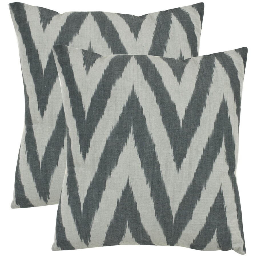 Safavieh Silver Chevron 2-Piece 22-in W x 22-in L Silver Square Indoor Decorative Pillow