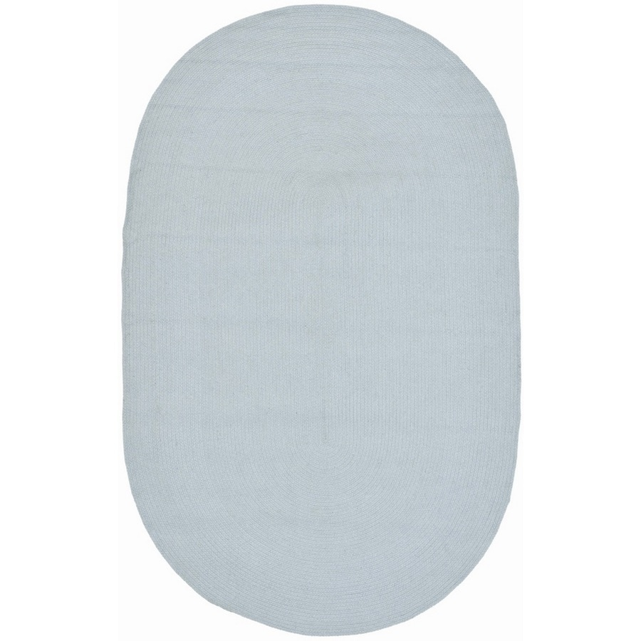Safavieh Braided Light Blue Oval Indoor Handcrafted Coastal Area Rug (Common: 6 x 9; Actual: 6-ft W x 9-ft L)