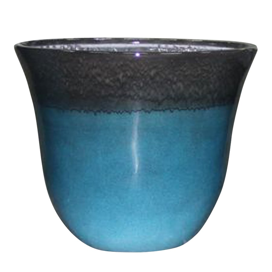 allen + roth 21.7-in x 18.43-in Turquoise Brown Plastic Planter