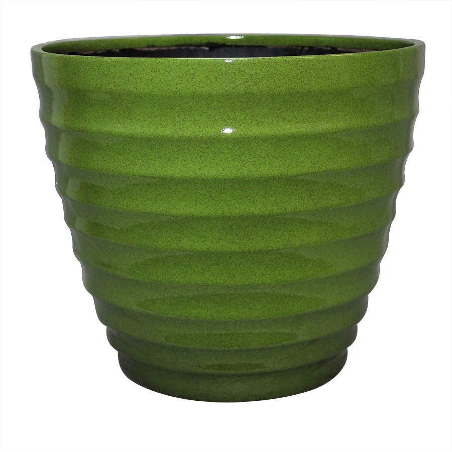 allen + roth 12-in x 10.33-in Green/Brown Resin Tapered Planter