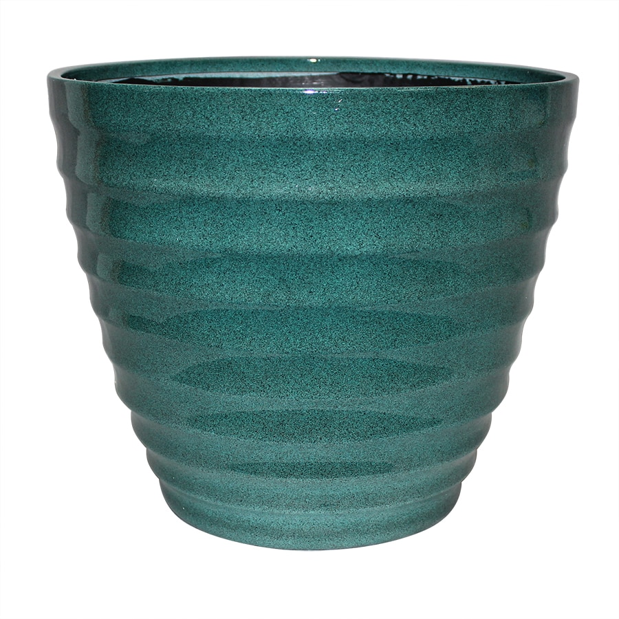 allen + roth 14-in x 11.5-in Turquoise/Brown Resin Tapered Planter
