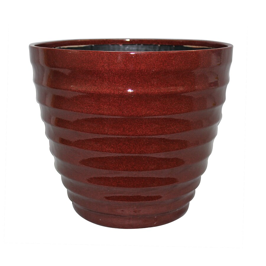 allen + roth 14-in x 11.5-in Red/Brown Resin Tapered Planter
