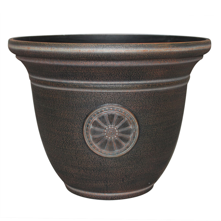 Garden Treasures 16-in x 12.3-in Rust Resin Traditional Planter