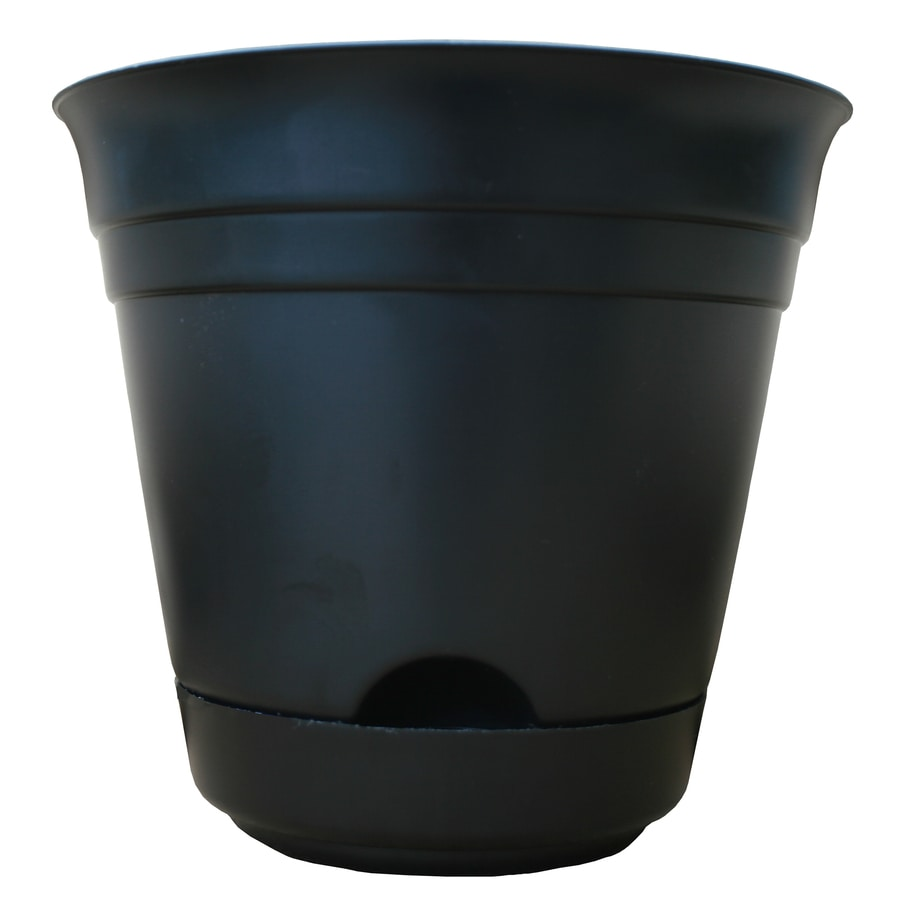 Garden Treasures 9-in x 8.25-in Black Plastic Self Watering Round Planter