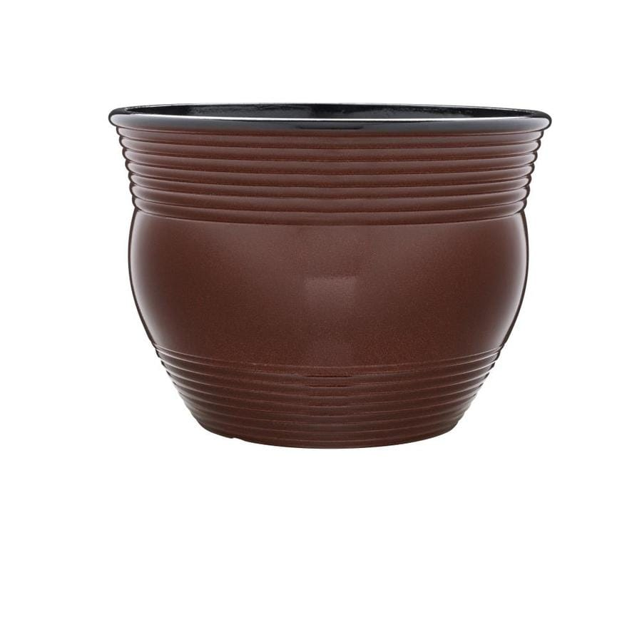 allen + roth 16-in x 11-in Red Resin Round Planter