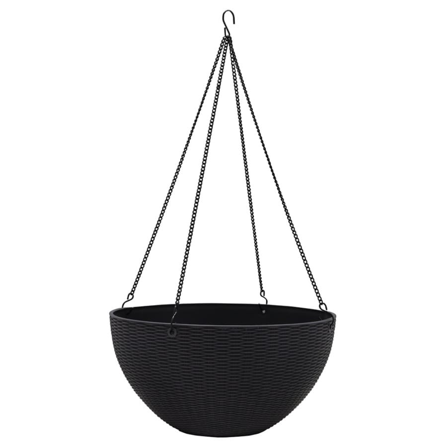 Garden Treasures 14 In X 7.05 In Dark Charcoal Plastic Woven Planter