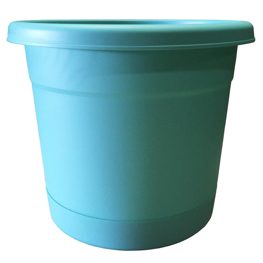 10.5-in x 9.38-in Aqua Plastic Self Watering Round Planter