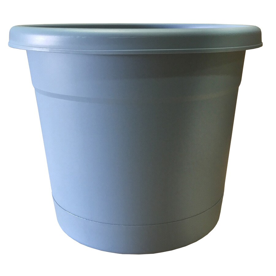 13.63-in x 11.4-in Blue Heavan Plastic Self Watering Round Planter