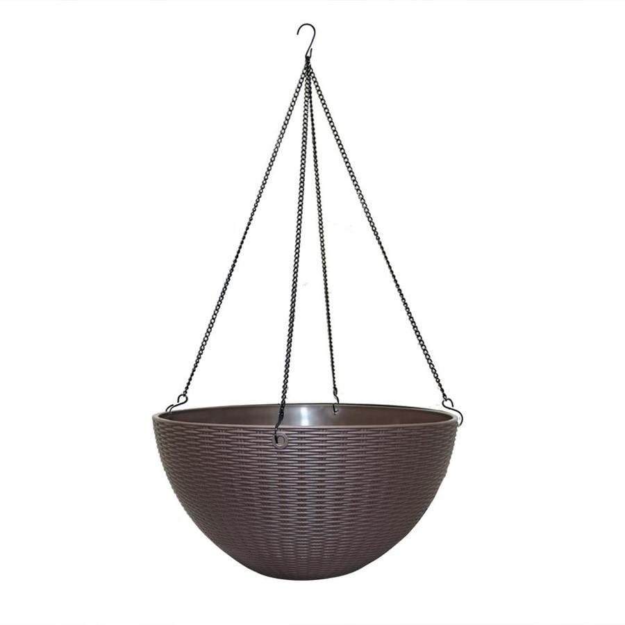 12-in x 6.04-in Brown Resin Hanging Self Watering Woven Basket