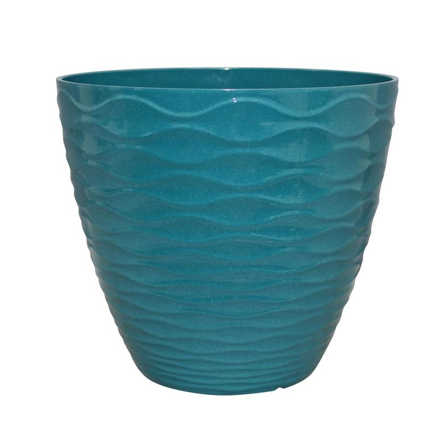 Shop allen + roth 13-in Teal Wave Planter at Lowes.com