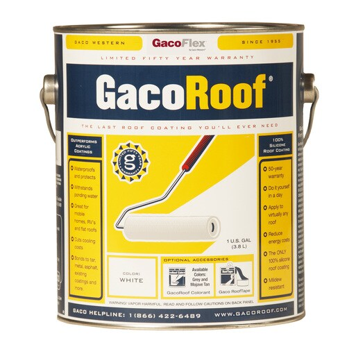 Gaco 1-Gallon Silicone Reflective Roof Coating (50-Year Limited Warranty)  at Lowes com