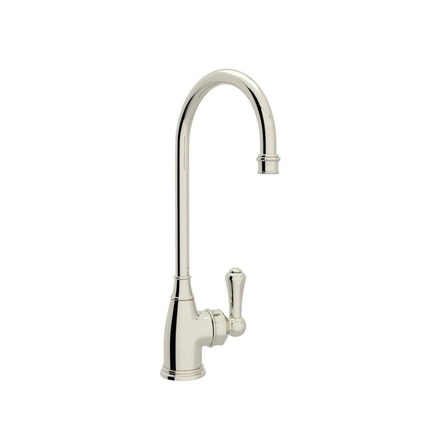 Rohl Perrin and Rowe Polished Nickel 1-Handle Deck Mount High-arc Bar and Prep Faucet