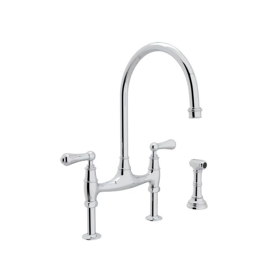 Rohl Perrin And Rowe Polished Chrome 2 Handle Deck Mount Bridge Kitchen Faucet
