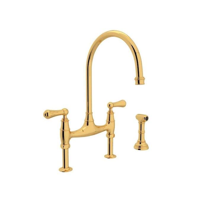 Rohl Perrin And Rowe English Gold 2 Handle Deck Mount Bridge Handle Kitchen Faucet In The Kitchen Faucets Department At Lowes Com
