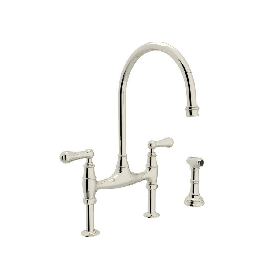 Superieur Rohl Perrin And Rowe Polished Nickel 2 Handle Deck Mount Bridge Kitchen  Faucet