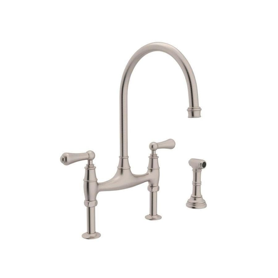 Rohl Perrin And Rowe Satin Nickel 2 Handle Deck Mount Bridge Kitchen Faucet