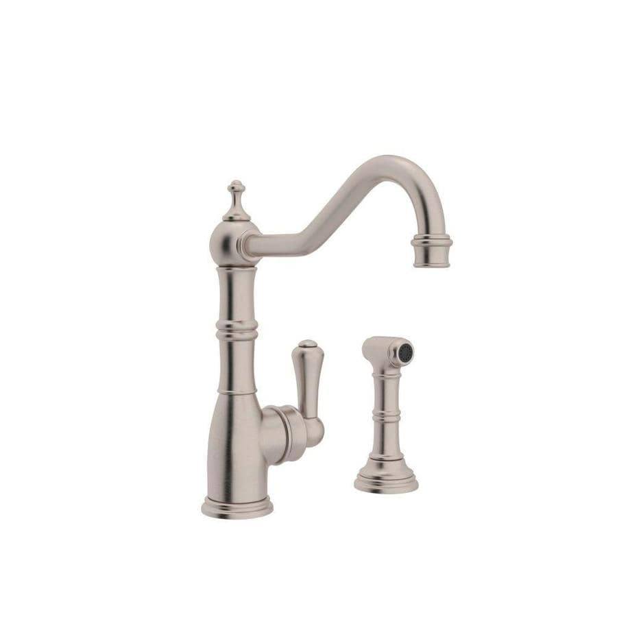 Rohl perrin and rowe satin nickel 1 handle deck mount high arc kitchen faucet