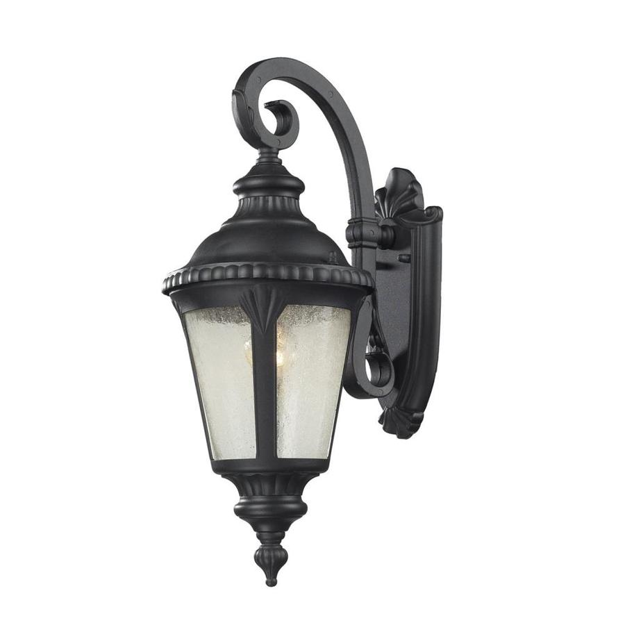 Bedfords Medium Pedestal Lantern In Black: Z-Lite Medow 19.625-in H Sand Black Medium Base (E-26