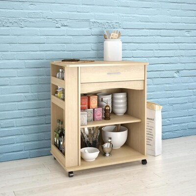 Brown Scandinavian Microwave Cart