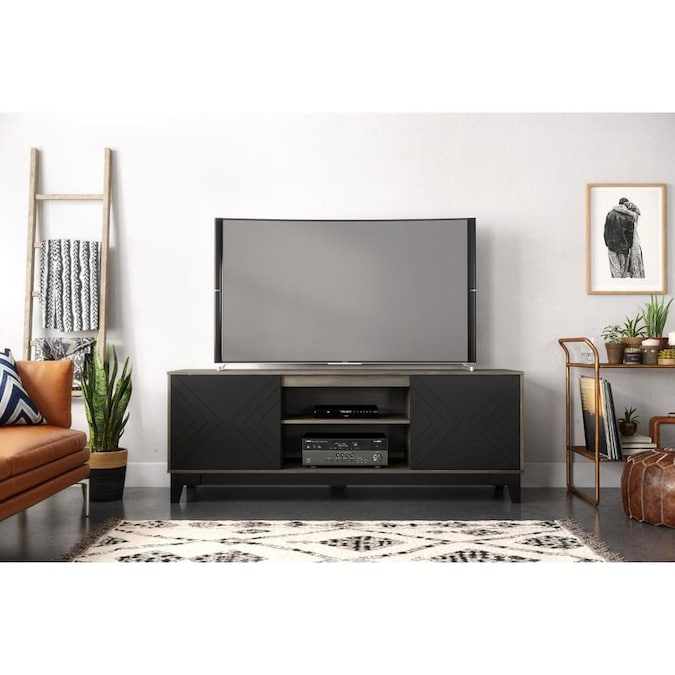 Nexera Arrow Bark Grey Laminate And Matte Black Lacquer Tv Stand In The Tv Stands Department At Lowes Com