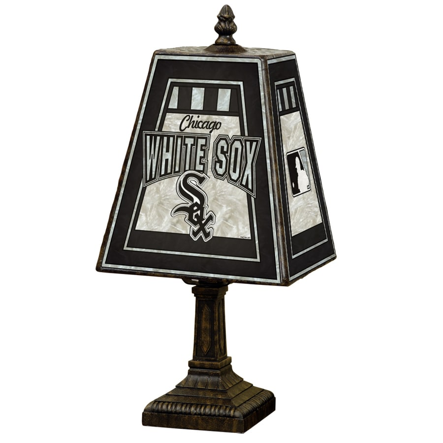 The Memory Company Art Glass 14.5-in Brass Standard Table Lamp with Glass Shade