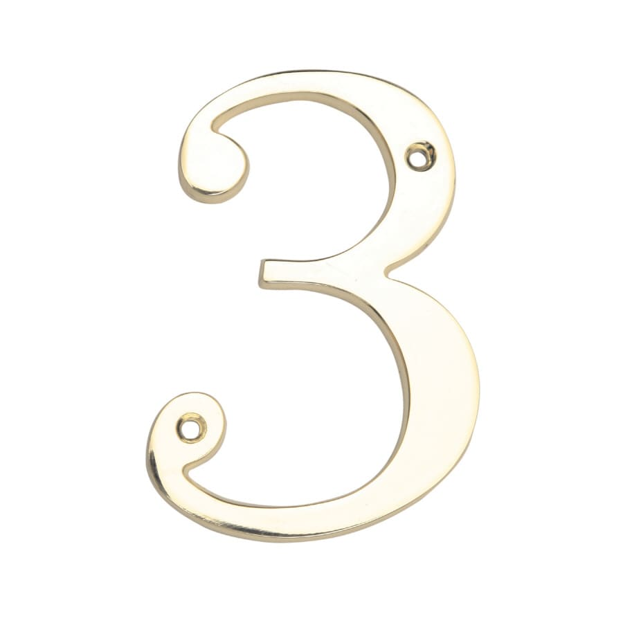 Gatehouse 3.94-in Polished Brass House Number