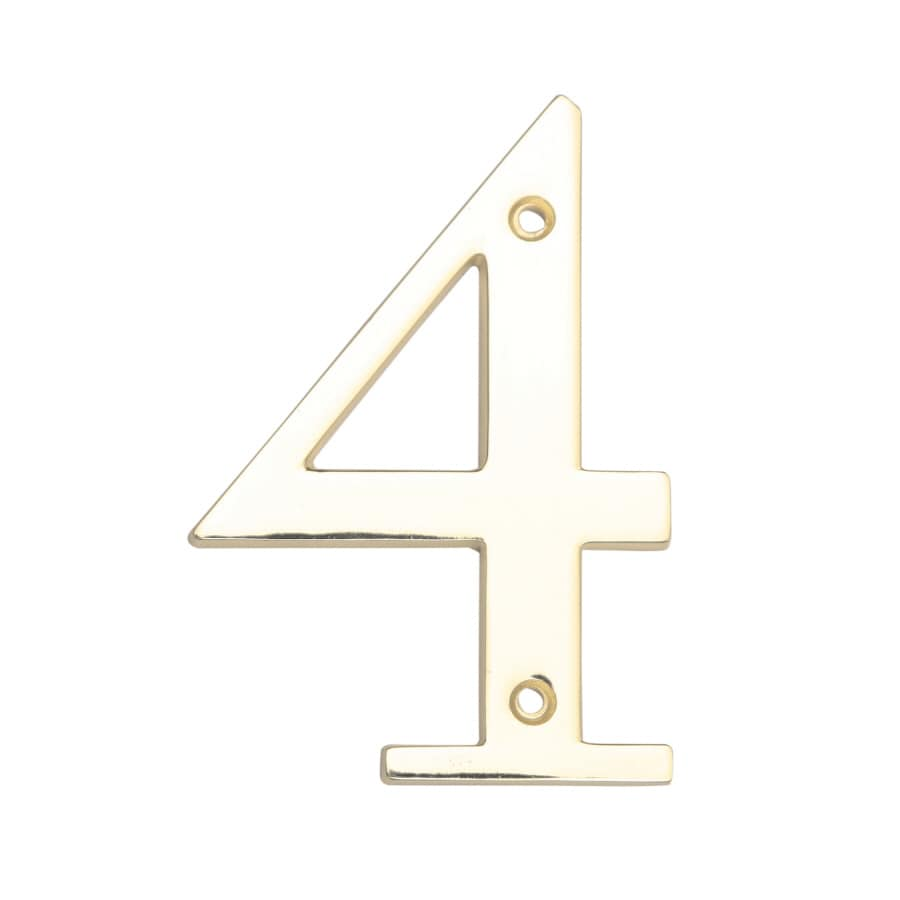 Gatehouse 3.86-in Polished Brass House Number 4