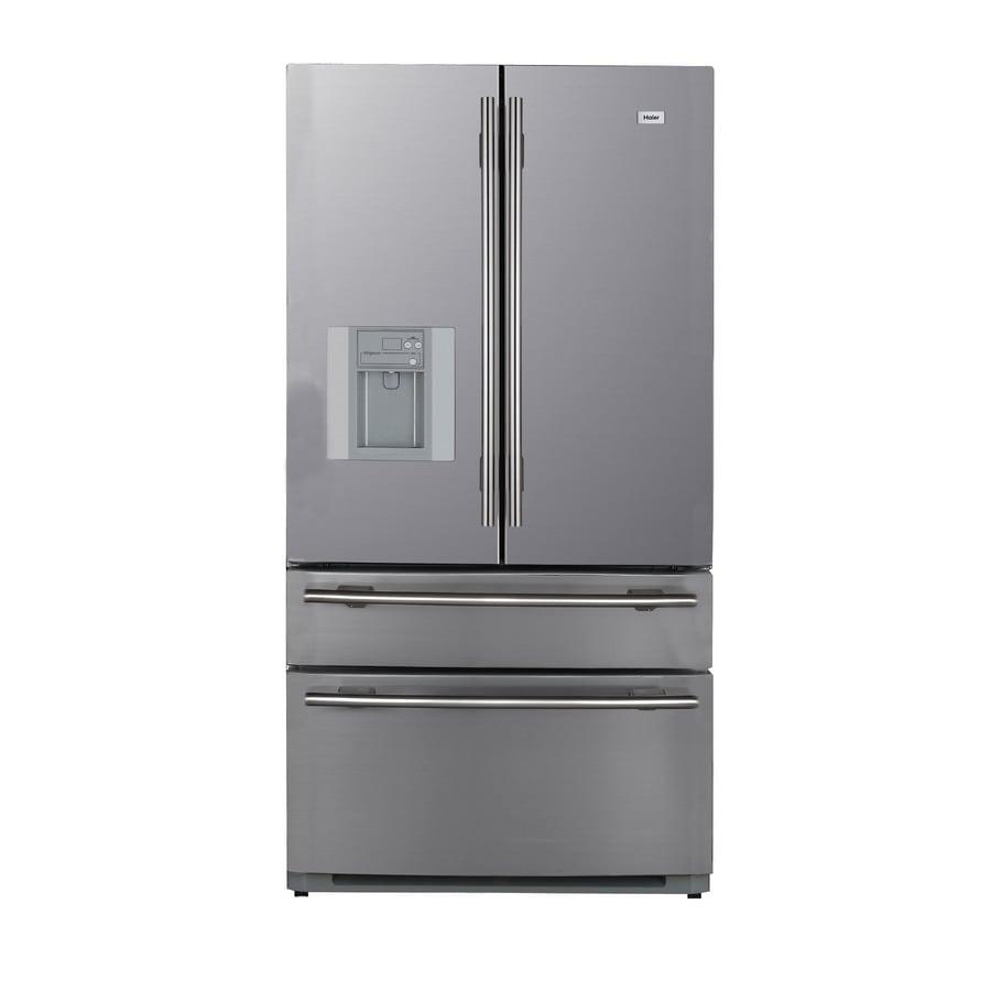 shop haier 20 6 cu ft bottom freezer counter depth refrigerator color stainless steel at. Black Bedroom Furniture Sets. Home Design Ideas