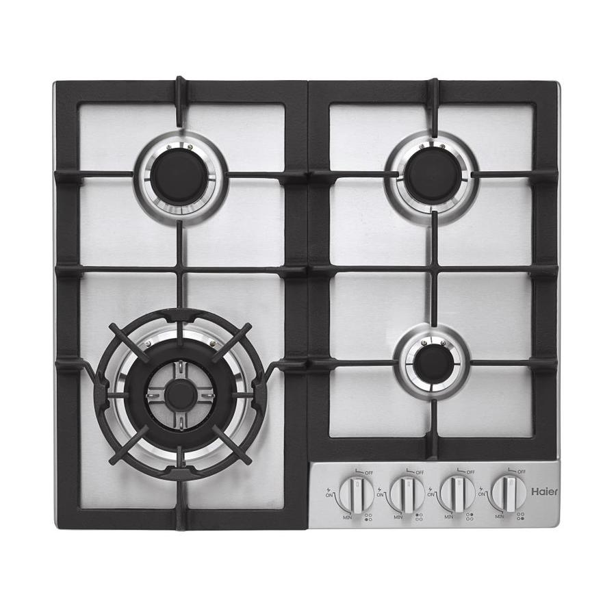 Haier 4-Burner Gas Cooktop (Stainless Steel) (Common: 24-in; Actual: 22.8125-in)
