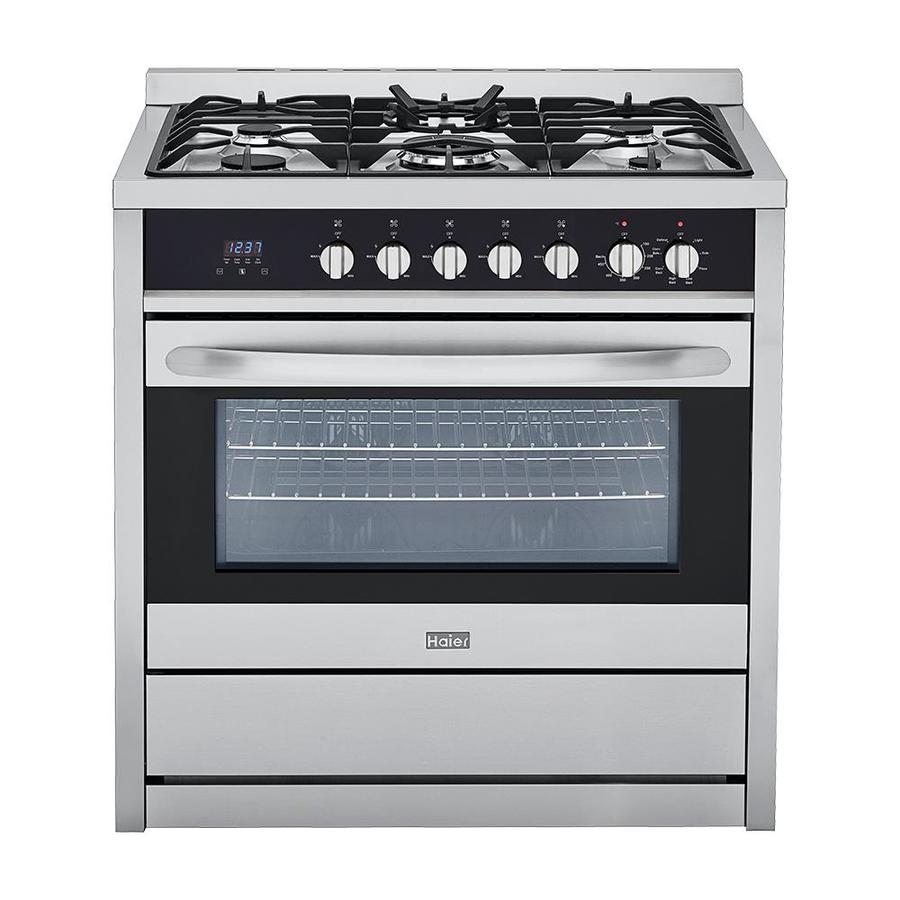 Haier 5-Burner Freestanding 3.8-cu ft Convection Gas Range (Stainless) (Common: 36-in; Actual: 35.4-in)