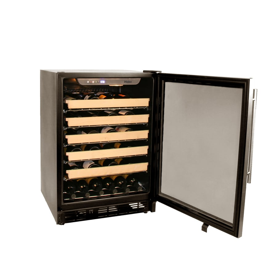 Haier 50-Bottle Brushed Aluminum Trim with Black Body Wine Chiller
