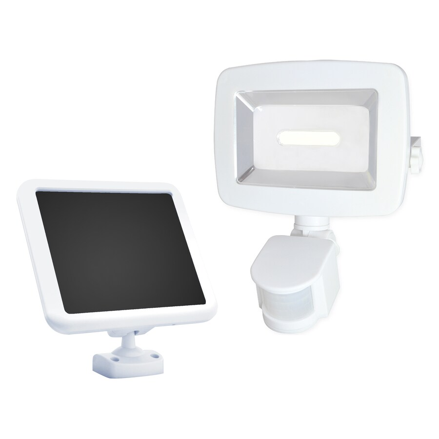 Sunforce 180-Degree 1-Head Off-White Solar Powered Integrated Led Motion-Activated Flood Light with Timer