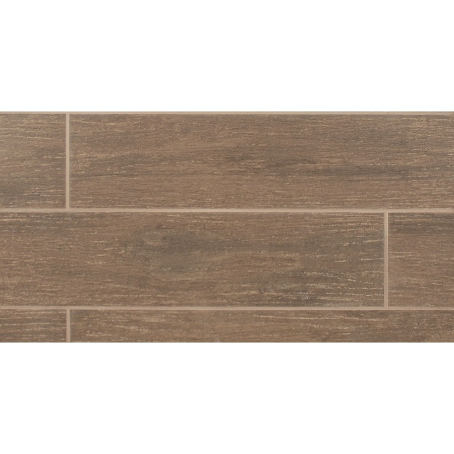 Bedrosians 11-Pack 6-in x 24-in Prestige Oak Glazed Porcelain Floor Tile (Actuals 23.75-in x 5.88-in)