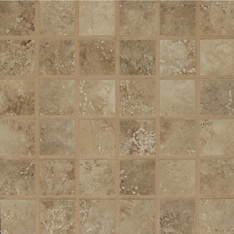 Bedrosians Roma Noce Uniform Squares Mosaic Porcelain Floor Tile (Common: 13-in x 13-in; Actual: 12.875-in x 12.875-in)