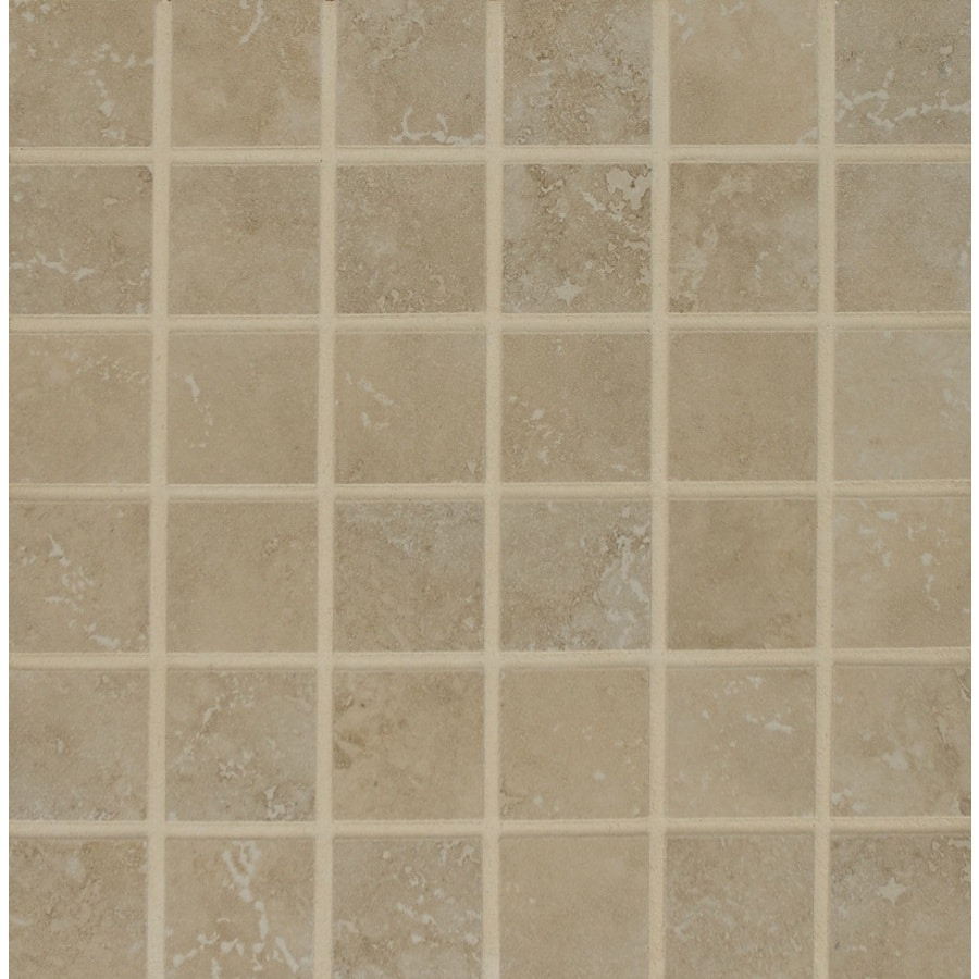 Bedrosians Illusions Silver Uniform Squares Mosaic Porcelain Floor Tile (Common: 13-in x 13-in; Actual: 12.875-in x 12.875-in)