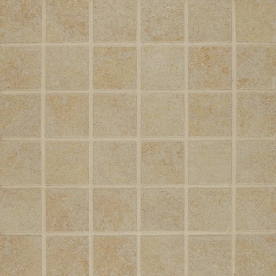 Bedrosians Eddie Almond Uniform Squares Mosaic Porcelain Floor Tile (Common: 13-in x 13-in; Actual: 12.875-in x 12.875-in)
