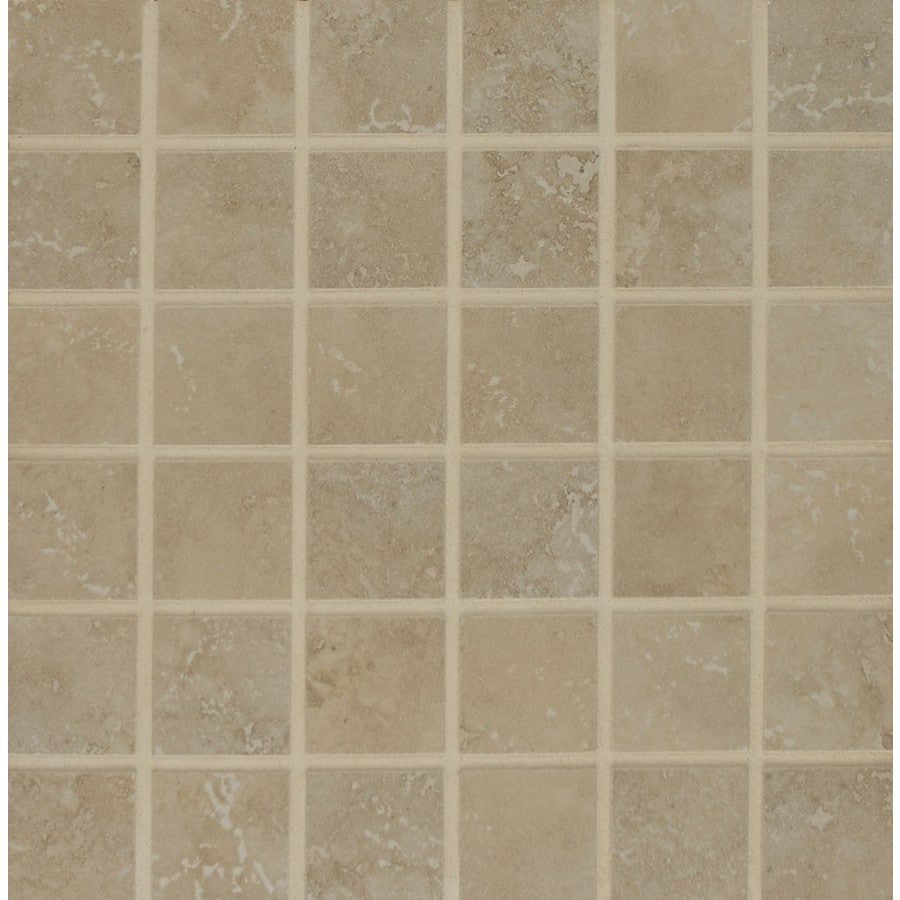Bedrosians Roma Terra Almond Uniform Squares Mosaic Porcelain Floor Tile (Common: 13-in x 13-in; Actual: 12.93-in x 12.93-in)