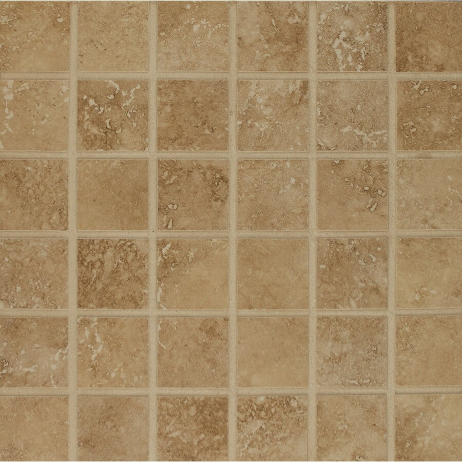 Bedrosians Roma Terra Camel Uniform Squares Mosaic Porcelain Floor Tile (Common: 13-in x 13-in; Actual: 12.93-in x 12.93-in)