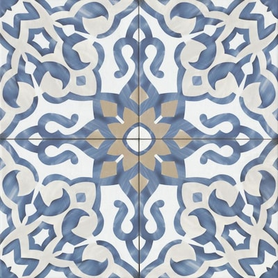 Bedrosians Villa Azul 20-Pack Blue 10-in x 10-in Porcelain Tile (Common: 10-in x 10-in; Actual: 9.84-in x 9.84-in)